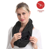 Wholesale infinity scarf for sale - Group buy Unisex Loop Scarves for Women Girls Lightweight Convertible Infinity Scarf Wrap with Hidden Zipper Pocket Stretchy Travel Scarf Y200103
