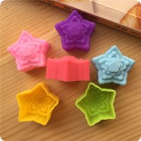 Wholesale star silicone mould resale online - Cupcake Silicone Moulds Pentagonal Star Shape Baking Utensils Mold Red Yellow Green Blue Purple Silicones Mould be L1