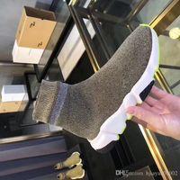 ingrosso donne nere di scarpe di tela di scintillio nero-2019 uomo donna calze firmate scarpe speed trainer nero bianco glitter rosa blu moda lusso uomo sneakers casual tela sneakers fz190803