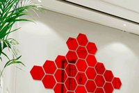Wholesale acrylic plastic art pieces for sale - Group buy Home decoration Acrylic mirror three dimensional wall stickers D effect living room porch aisle stairs personality wall stickers hexagonal