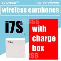 casque micro bluetooth câble achat en gros de-I7 I7S TWS Twins Bluetooth Écouteurs Mini Écouteurs Sans Fil Casque avec Micro Stéréo V4.2 Casque avec chargeur blanc