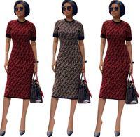 tasarımcı elbise parti kadınları toptan satış-Kadın FF Tam Uzun Ince Elbise Lüks Tasarımcı Yaz Elbiseler Marka Kısa Kollu Bodycon Etek FENDS Bayan Giyim Parti Elbiseler C6501