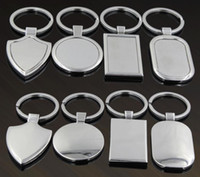 Wholesale blank key tags resale online - Metal Blank Tag keychain Creative Car Keychain Personalized Stainless Steel Key Ring Business Advertising For Promotion Gift SN629