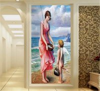 Wholesale american seascape paintings for sale - Group buy Custom d Wallpaper European And American Characters Seascape Oil Painting Indoor Porch Background Wall Decoration Mural Wallpaper