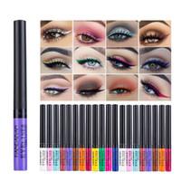 12 renk makyaj göz harı toptan satış-HANDAIYAN 12 Renk Mat Eyeliner Gözler Makyaj Su Geçirmez Astar Yeux Dökün Beyaz Mavi Göz Kalemi Parti Mat Göz Farı için
