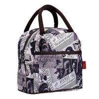 weiße lunchboxen großhandel-ABDB schwarz weiß braun Stil Polyester Lunch Bag Lunch Box Paket Shop-Einkaufstasche Geldbeutel für Frauen Mädchen