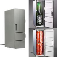 ingrosso frigorifero frigorifero 12v-Portatile Mini USB PC portatile Frigorifero portatile Mini USB PC Frigorifero Warmer Cooler Bevande Drink Lattine Freezer