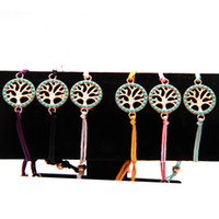 Wholesale diy resin chain resale online - New turquoise Tree of Life charm bracelets color String of Fate Rope Handmade Cord adjustable Bangle For women Men Fashion DIY Jewelry