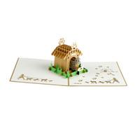 Wholesale vintage 3d postcard for sale - Group buy Vintage D handmade hollow up laser cut creative postcards for birthday Animal Pet dog greeting Cards with envelopes