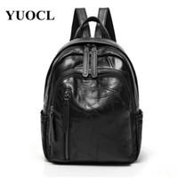 Wholesale genuine leather rucksack resale online - 2018 Genuine Leather Rucksack Women Backpack Sac A Dos Femme Travel Laptop Backpack School Bags For Teenage Girls
