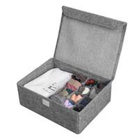 Wholesale socks bra resale online - Washable Bra Underwear Storage Box With Cover linen Folding Cases Necktie Socks Underwear Clothing Organizer Container Bra Box
