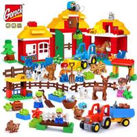 zoo spielzeug großhandel-GOROCK Happy Farm LegoIN Duplo Große größe Blöcke Happy Zoo Tiere Gebäude Kompatibel Blöcke Sets Für Kinder DIY Geschenke Baby Spielzeug