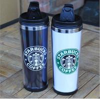 termos içecek bardakları toptan satış-2019 Yeni Starbucks Termos Bardak Termoslar Termos Paslanmaz Çelik Yalıtımlı Termos Bardak Kahve Kupa Seyahat İçecek Şişe 450 ml 2 Renkler