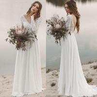Wholesale wedding dress v neck chiffon skirt resale online - Beach Boho Wedding Dresses A Line Chiffon Lace V Neck Long Sleeves Backless Bridal Gown