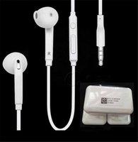 volumen del micrófono del auricular del iphone 5s al por mayor-S6 Auriculares Auriculares Auriculares In Ear Earbuds auriculares para Iphone con control de volumen de micrófono 3.5 mm en la oreja para iPhone 5 5s 6 6 s Samsung S6