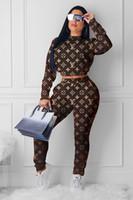 sıkı takım elbiseli pantolon toptan satış-Yarım Yüksek yaka Uzun baskı Kadınlar 2 Adet Set Harf Sıkı pantolon Eşofman seksi bayan spor Kahverengi 16672 uyacak Suit kısa Tops kollu