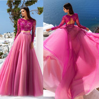 elegante lange abschlussballkleidbügel großhandel-Elegante Fuchsia Zweiteiler 2020 Abendkleid Mit Langen Ärmeln Spitze Tüll Sheer A Line Abendkleider Party Kleid Formal Pageant Wear
