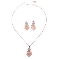 conjuntos de collar de moda para las mujeres al por mayor-Fashion Square Pink Necklace and Earrings Set Pendientes con diamantes de imitación de boda nupcial Conjuntos de joyería para mujeres