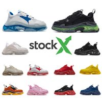 Wholesale bubbles shoes resale online - Stock X designer FW Triple S Adds A Clear Bubble Midsole Sneakers mens women Neon Green luxury increasing Brand Men Casual Dad Shoes