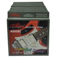 cœurs de guitare achat en gros de-12 sets Alice coloré guitare électrique cordes noyau hexagonal en alliage de cuivre blessé