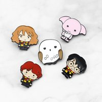 Wholesale turquoise green gemstone resale online - Move Jewelry Cartoon Character HP Potter Dobby Hermione Enamel pins Badges Lapel pins