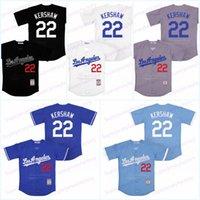 los angeles azul venda por atacado-Homens 22 Kershaw Los Angeles Throwback baseball Jersey Cor Branco Cinza Preto Azul 100% costurado Tamanho S-3XL frete grátis Jerseys