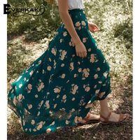 богемная мода макси юбка оптовых-Everkaki Floral Pattern Maxi Skirt Women Bohemian Printed Chiffon Long Skirts For Women Fashion Ladies Split Wrap Skirt 2019