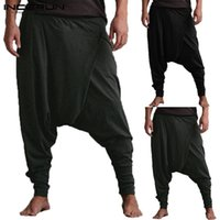 soltar entrepierna pantalon mujer al por mayor-INCERUN Hombres Pantalones Harem Gota Bolsillos de la entrepierna Joggers Pantalones sólidos Hombres Pantalones holgados sueltos Hip-hop Mujeres Pantalones de yoga casuales 5XL
