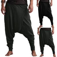 mulheres folgadas joggers venda por atacado-INCERUN Homens Harem Pants Queda Virilha Bolsos Corredores Calças Sólidas Dos Homens Soltos Hip-hop Calças Folgadas Mulheres Casuais Yoga-Calças 5XL