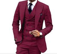 laços do italiano dos homens venda por atacado-Borgonha Mens casamento Ternos 3 Pieces Custom Made Noivo Smoking para ternos Prom italiano Stylish Mens (Jacket + Calças + Vest + Tie) BH101