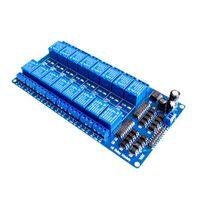 módulo de relé de potencia al por mayor-5 unids / lote 12 V 16 Canales Tarjeta de Interfaz de Módulo de Relé Para PIC ARM DSP PLC W / Optoacoplador Protección LM2576 Power freeshipping