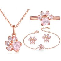 Wholesale gold studs cat resale online - ROXI Bear Cat Claw Jewelry Sets for Women Rose Gold Rings Stud Earrings Necklace Bracelet Wedding Pink Crystal CZ Love Gifts
