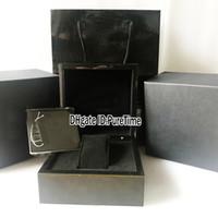 ingrosso scatola regalo di orologio nero-La scatola nera dell'orologio delle scatole nere dell'orologio di Leathe della scatola nera di qualità di Hight riveste la scatola originale con i sacchetti di carta del regalo del certificato per tempo di uso