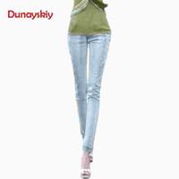 luzes de rua venda por atacado-Lady Jóia Diamante Bordado Calças Jeans de Rua Mulheres Luz azul Hallow Out Buraco Jeans Pant Punk Moda Leggings Completo