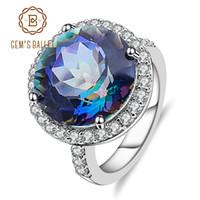 Wholesale jewelry for cocktail resale online - Gem s Balle ct Natural Blueish Mystic Quartz Sterling Silver Cocktail Rings Fine Jewelry For Women Wedding Engagement J190524