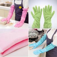 Wholesale waterproof dishwashing gloves resale online - Rubber Cleaning Gloves Waterproof Reuseable Kitchen Dishwashing Gloves