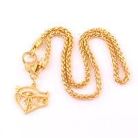 augenkreuz halskette großhandel-Vergoldetes ägyptisches Auge des Horus Hieroglyphe Kreuz Charms Anhänger Religiöse Halskette