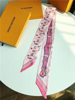 pendentif 5cm achat en gros de-Mode Perle Pendentif Écharpe Femmes Feuille De Bambou Imprimé Cou Couilles Nouveau Gros 90 * 5cm 2018 Sac Foulards