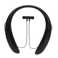 Wholesale headset card slot resale online - Wireless neckband Bluetooth headset sports earbuds with microphone camera dual speaker volume control TF card slot rechargeable battery