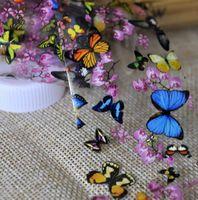 kelebek çivi toptan satış-Kelebek Erik Çiçek Nail Art Transferi Folyo Renkli Tam Wrap Nail Sticker Çıkartma Dekorasyon DIY Manikür Aracı