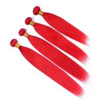 tramas de extensão de cabelo vermelho venda por atacado-Pure Red Brasileiro Virgem Do Cabelo Humano Pacotes de Seda Reta 4 Pcs Tramas Duplas Cabelo Humano de Cor Vermelha Tece Extensões de Cabelo Brasileiro