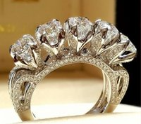 gemas naturais brancas venda por atacado-Exquisite 925 Sterling Silver Ring Natural Gemstone Branco Sapphire Diamond Jewelry aniversário Promise presente de noivado casamento nupcial alta J
