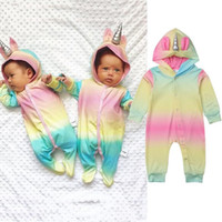 Wholesale unisex baby clothes online - Cute multicolor Hooded Baby Rompers For Boys Girls Newborn unicorn Climbing clothes Infant Jumpsuit Baby Clothing MMA1384