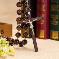 ingrosso catena di bead jesus-2018 del grande San Benedetto Papa Perle rotonde Rosario in legno marrone Catena JESUS Croce ROSARIO collana lunga religiosa 110cm