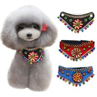 Wholesale make dog collars resale online - National Wind Pet Bandanas Pet Triangle Neck Decoration Accessories Turban Dog Collar With Bell Colorful Flower Scarf Make Pets