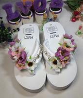 ingrosso flop floreale a sfera alta tacco-New Diamond Beach Flip Flop Handmade Pantofole Moda bella donna cunei scarpe con scarpe col tacco alto online