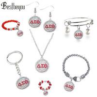 conjunto de alfabetos encantos al por mayor-La manera fija el conjunto alfabeto griego Delta Sigma Theta Charm colgante del neckalce pendiente de la pulsera de la joyería joyería llavero DST