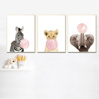 Wholesale canvas children wall art for sale - Group buy Pink Bubble Elephant Giraffe Child Poster Animal Wall Art Canvas Nursery Print Painting Nordic Kid Baby Room Decoration Picture