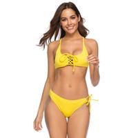 aacf88c4b 2019 mulher swimsuitsexy amarelo push pad sutiã terno novo maiô mulheres  sexy preto bandage biquíni dhl livre