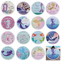 Wholesale handmade tapestries for sale - Group buy 15styles Mermaid Pattern Printed Round Beach Towel With Tassels Summer Swimming Picnic Mat Tapestry Travel outdoor beach Blanket FFA2206